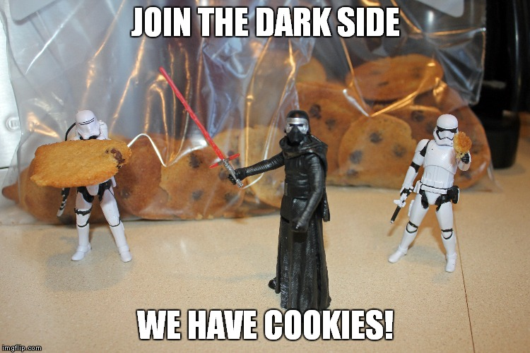 We have cookies! | JOIN THE DARK SIDE WE HAVE COOKIES! | image tagged in star wars force dark side cookies,star wars,cookies,the force,kylo ren,stormtrooper | made w/ Imgflip meme maker