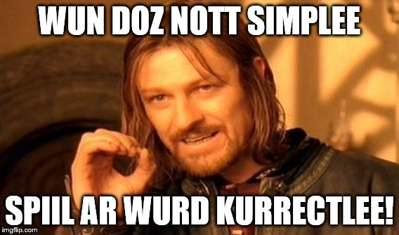 One Does Not Simply Meme | WUN DOZ NOTT SIMPLEE SPIIL AR WURD KURRECTLEE! | image tagged in memes,one does not simply | made w/ Imgflip meme maker
