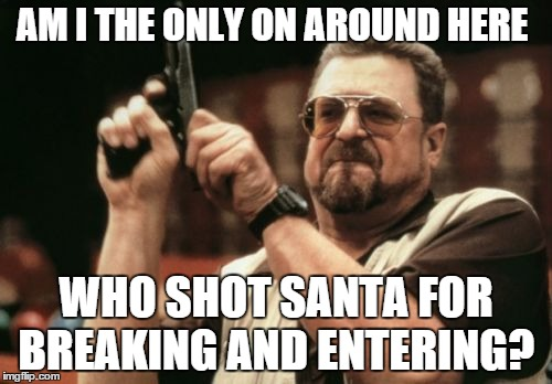 Am I The Only One Around Here | AM I THE ONLY ON AROUND HERE WHO SHOT SANTA FOR BREAKING AND ENTERING? | image tagged in memes,am i the only one around here | made w/ Imgflip meme maker