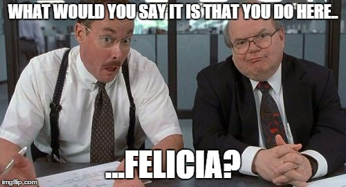 Bye Felicia! | WHAT WOULD YOU SAY IT IS THAT YOU DO HERE.. ...FELICIA? | image tagged in memes,the bobs,bye felicia,office space | made w/ Imgflip meme maker