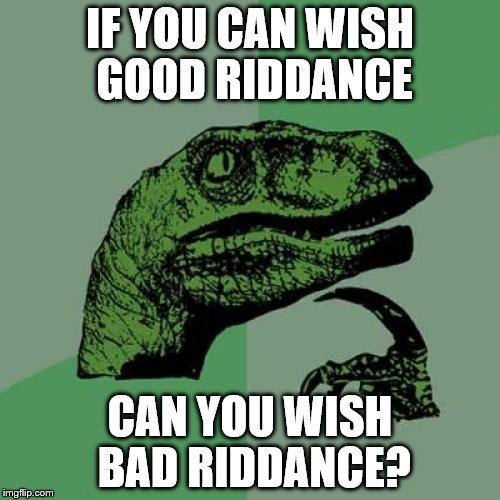 Philosoraptor Meme | IF YOU CAN WISH GOOD RIDDANCE CAN YOU WISH BAD RIDDANCE? | image tagged in memes,philosoraptor,good riddance,bad riddance | made w/ Imgflip meme maker