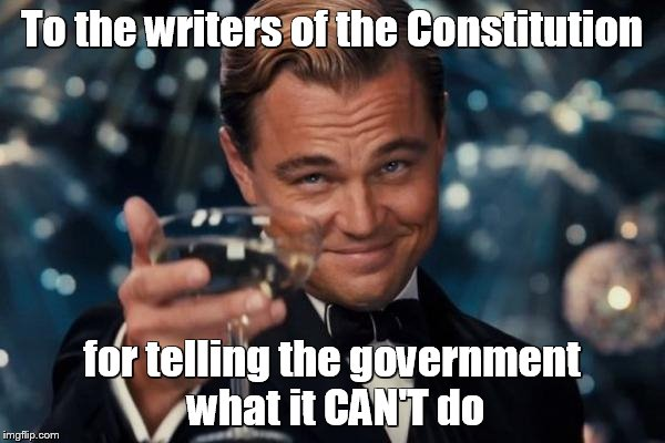 Leonardo Dicaprio Cheers Meme | To the writers of the Constitution for telling the government what it CAN'T do | image tagged in memes,leonardo dicaprio cheers | made w/ Imgflip meme maker