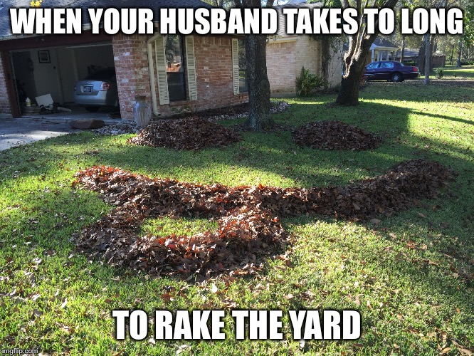 Yard work | WHEN YOUR HUSBAND TAKES TO LONG TO RAKE THE YARD | image tagged in funny | made w/ Imgflip meme maker