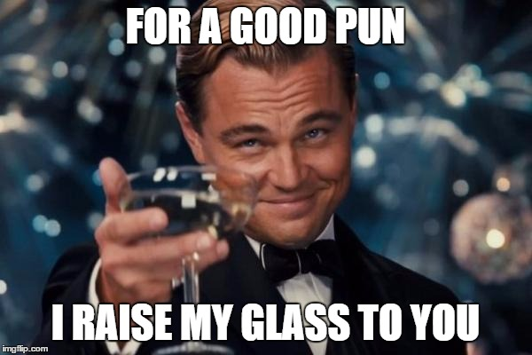 FOR A GOOD PUN I RAISE MY GLASS TO YOU | image tagged in memes,leonardo dicaprio cheers | made w/ Imgflip meme maker