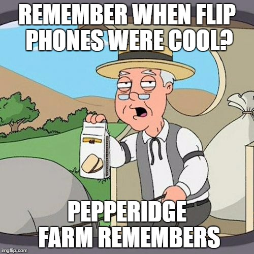 i remember when my dad had a flip phone | REMEMBER WHEN FLIP PHONES WERE COOL? PEPPERIDGE FARM REMEMBERS | image tagged in memes,pepperidge farm remembers | made w/ Imgflip meme maker
