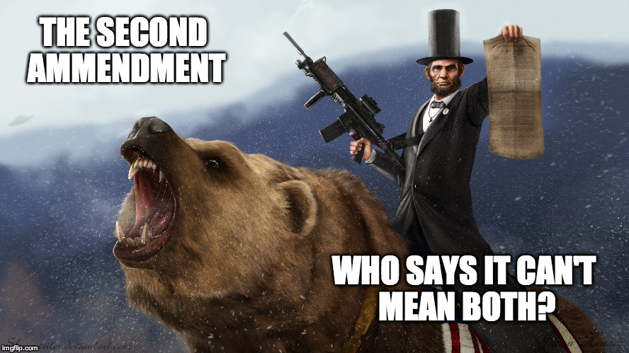 w1z2g lincoln executing his right to bear arms imgflip,The Right To Bear Arms Meme