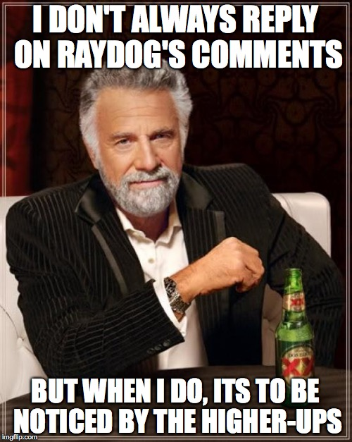 The Most Interesting Man In The World Meme | I DON'T ALWAYS REPLY ON RAYDOG'S COMMENTS BUT WHEN I DO, ITS TO BE NOTICED BY THE HIGHER-UPS | image tagged in memes,the most interesting man in the world | made w/ Imgflip meme maker
