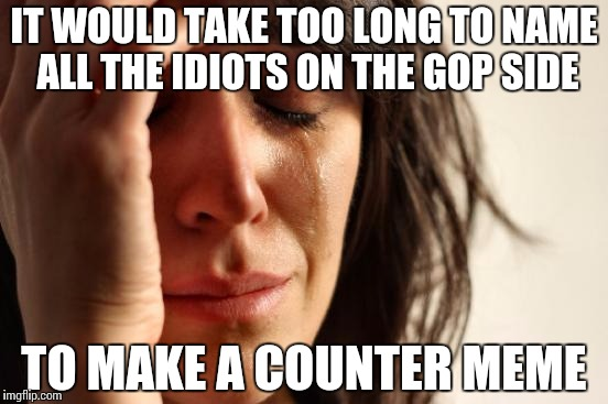 First World Problems Meme | IT WOULD TAKE TOO LONG TO NAME ALL THE IDIOTS ON THE GOP SIDE TO MAKE A COUNTER MEME | image tagged in memes,first world problems | made w/ Imgflip meme maker