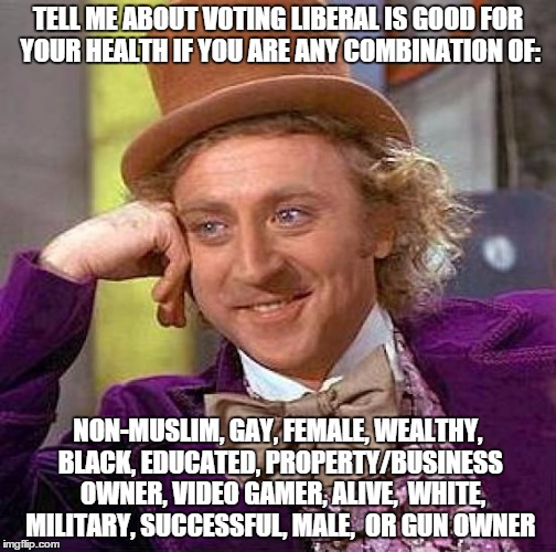 Creepy Condescending Wonka Meme | TELL ME ABOUT VOTING LIBERAL IS GOOD FOR YOUR HEALTH IF YOU ARE ANY COMBINATION OF: NON-MUSLIM, GAY, FEMALE, WEALTHY, BLACK, EDUCATED, PROPE | image tagged in memes,creepy condescending wonka | made w/ Imgflip meme maker