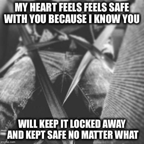 Love feelings | MY HEART FEELS FEELS SAFE WITH YOU BECAUSE I KNOW YOU WILL KEEP IT LOCKED AWAY AND KEPT SAFE NO MATTER WHAT | image tagged in love,heart,feelings,safe,keep,the one | made w/ Imgflip meme maker
