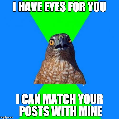 Hawkward | I HAVE EYES FOR YOU I CAN MATCH YOUR POSTS WITH MINE | image tagged in memes,hawkward | made w/ Imgflip meme maker