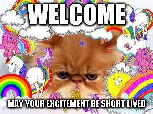 WELCOME MAY YOUR EXCITEMENT BE SHORT LIVED | made w/ Imgflip meme maker