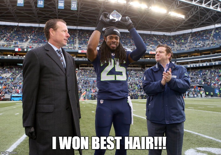 I WON BEST HAIR!!! | image tagged in seahawks mvp | made w/ Imgflip meme maker