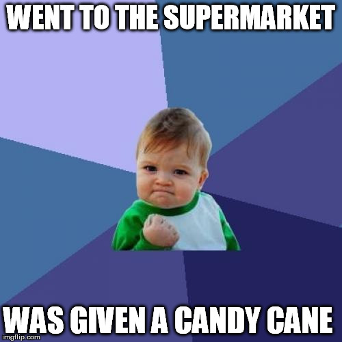 Day has been made | WENT TO THE SUPERMARKET WAS GIVEN A CANDY CANE | image tagged in memes,success kid,christmas,candy cane,shopping | made w/ Imgflip meme maker