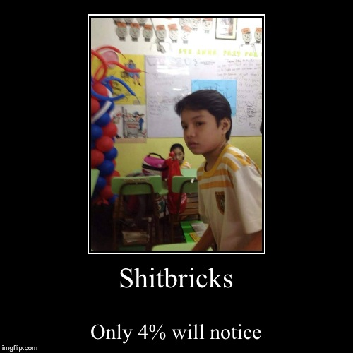 Shitbricks | Only 4% will notice | image tagged in funny,demotivationals | made w/ Imgflip demotivational maker