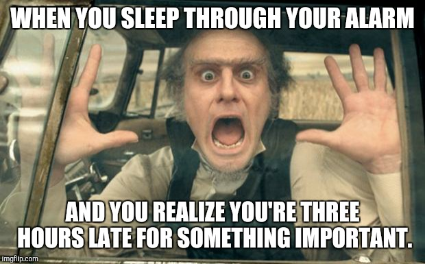 What time is it!? | WHEN YOU SLEEP THROUGH YOUR ALARM AND YOU REALIZE YOU'RE THREE HOURS LATE FOR SOMETHING IMPORTANT. | image tagged in olaf panic,sleep,alarm,late | made w/ Imgflip meme maker