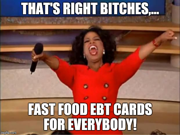Oprah You Get A Meme | THAT'S RIGHT B**CHES,... FAST FOOD EBT CARDS FOR EVERYBODY! | image tagged in memes,oprah you get a | made w/ Imgflip meme maker