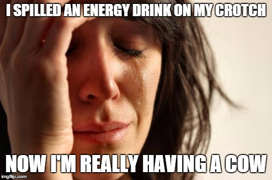 First World Problems Meme | I SPILLED AN ENERGY DRINK ON MY CROTCH NOW I'M REALLY HAVING A COW | image tagged in memes,first world problems | made w/ Imgflip meme maker