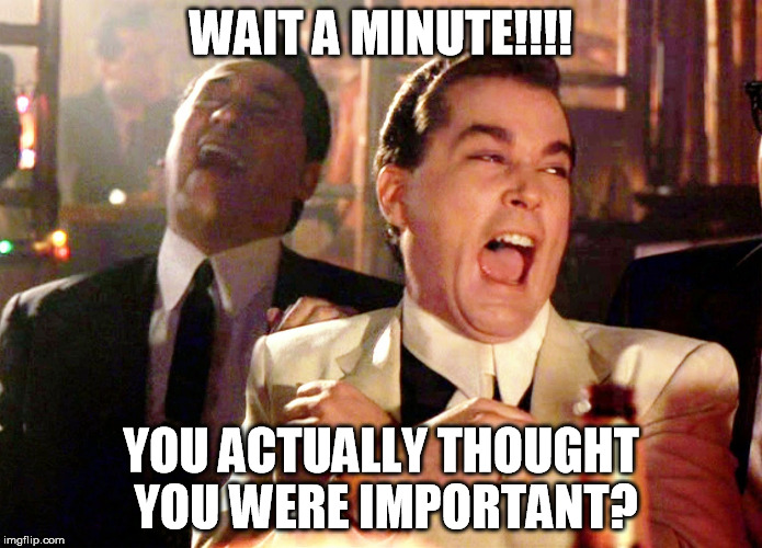 Good Fellas Hilarious Meme | WAIT A MINUTE!!!! YOU ACTUALLY THOUGHT YOU WERE IMPORTANT? | image tagged in memes,good fellas hilarious | made w/ Imgflip meme maker