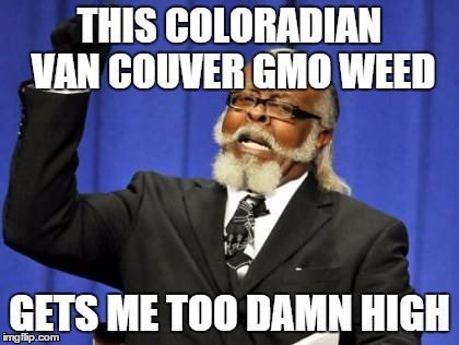 No Good Weed Goes Unpunished | THIS COLORADIAN VAN COUVER GMO WEED GETS ME TOO DAMN HIGH | image tagged in memes,too damn high,vegan,organic chemistry,biology | made w/ Imgflip meme maker
