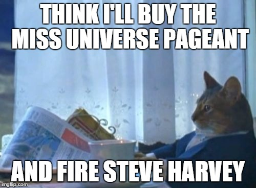 You're Fired! | THINK I'LL BUY THE MISS UNIVERSE PAGEANT AND FIRE STEVE HARVEY | image tagged in memes,i should buy a boat cat,steve harvey,miss universe 2015 | made w/ Imgflip meme maker