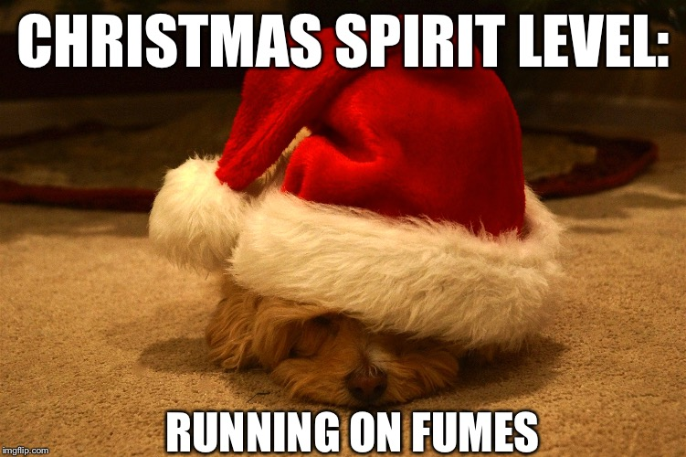 Feelings after the fourth work party | CHRISTMAS SPIRIT LEVEL: RUNNING ON FUMES | image tagged in christmas,spirit | made w/ Imgflip meme maker