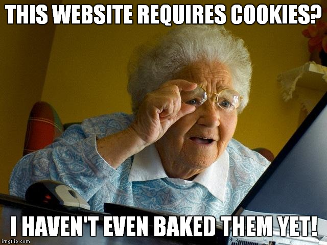 Grandma Finds The Internet Meme | THIS WEBSITE REQUIRES COOKIES? I HAVEN'T EVEN BAKED THEM YET! | image tagged in memes,grandma finds the internet | made w/ Imgflip meme maker