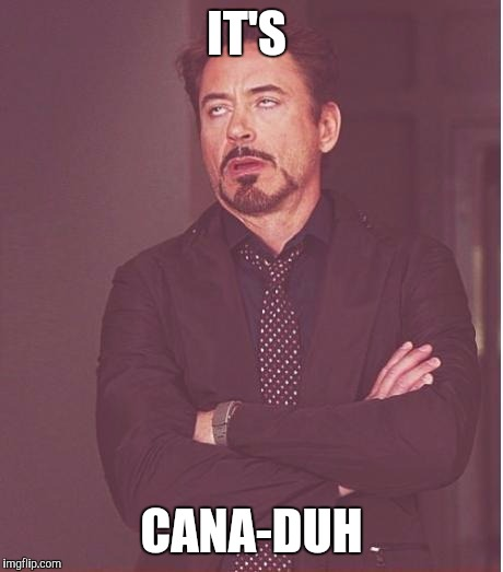 Face You Make Robert Downey Jr Meme | IT'S CANA-DUH | image tagged in memes,face you make robert downey jr | made w/ Imgflip meme maker