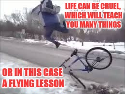 Life lessons | LIFE CAN BE CRUEL, WHICH WILL TEACH YOU MANY THINGS OR IN THIS CASE A FLYING LESSON | image tagged in life,funny,funny memes,learn | made w/ Imgflip meme maker