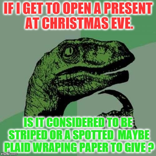 Philosoraptor Meme | IF I GET TO OPEN A PRESENT AT CHRISTMAS EVE. IS IT CONSIDERED TO BE STRIPED OR A SPOTTED  MAYBE PLAID WRAPING PAPER TO GIVE ? | image tagged in memes,philosoraptor | made w/ Imgflip meme maker