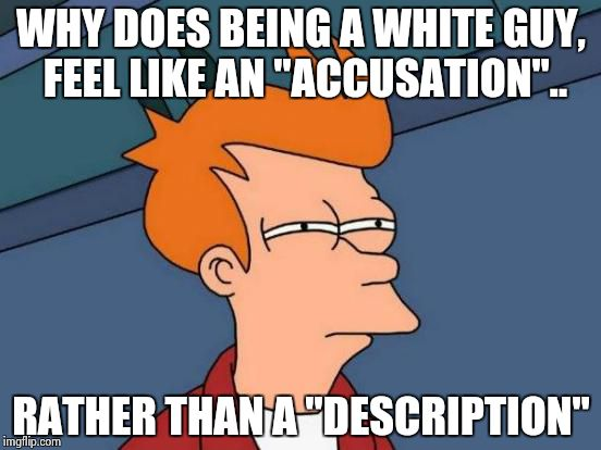 "Futurama Fry | WHY DOES BEING A WHITE GUY, FEEL LIKE AN ""ACCUSATION"".. RATHER THAN A ""DESCRIPTION"" 