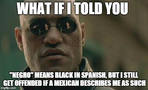 "Matrix Morpheus Meme | WHAT IF I TOLD YOU ""NEGRO"" MEANS BLACK IN SPANISH, BUT I STILL GET OFFENDED IF A MEXICAN DESCRIBES ME AS SUCH 