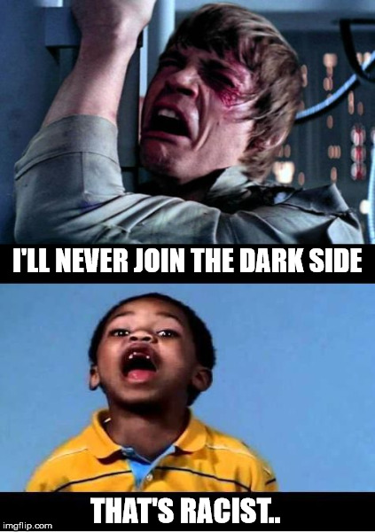 noooooooo | I'LL NEVER JOIN THE DARK SIDE THAT'S RACIST.. | image tagged in skywalker | made w/ Imgflip meme maker