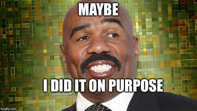 Maybe | MAYBE I DID IT ON PURPOSE | image tagged in steve harvey | made w/ Imgflip meme maker