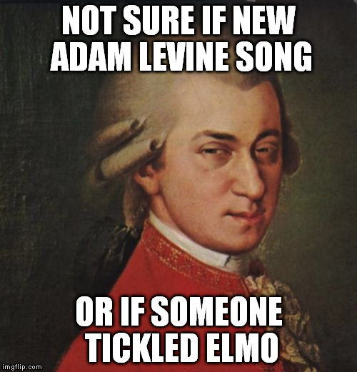 Mozart Not Sure | NOT SURE IF NEW ADAM LEVINE SONG OR IF SOMEONE TICKLED ELMO | image tagged in memes,mozart not sure,adam levine,elmo | made w/ Imgflip meme maker