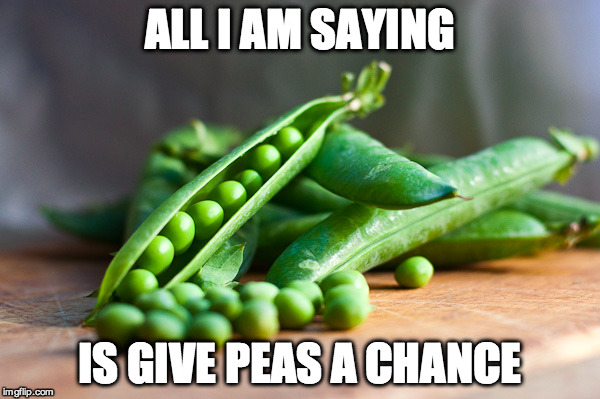 ALL I AM SAYING IS GIVE PEAS A CHANCE | made w/ Imgflip meme maker