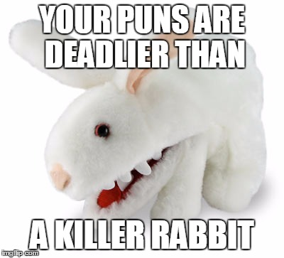 YOUR PUNS ARE DEADLIER THAN A KILLER RABBIT | made w/ Imgflip meme maker