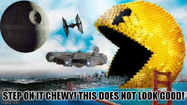 When worlds collide | STEP ON IT CHEWY! THIS DOES NOT LOOK GOOD! | image tagged in star wars,pacman,millennium falcon,funny | made w/ Imgflip meme maker