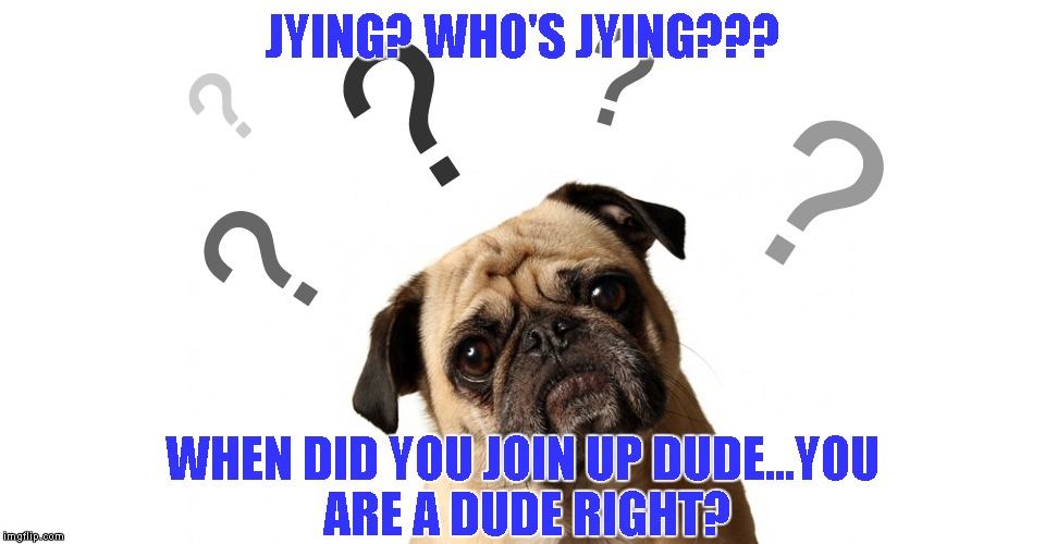 JYING? WHO'S JYING??? WHEN DID YOU JOIN UP DUDE...YOU ARE A DUDE RIGHT? | made w/ Imgflip meme maker