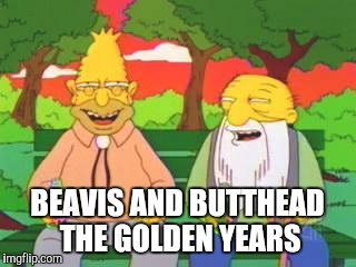 Simpsons | BEAVIS AND BUTTHEAD THE GOLDEN YEARS | image tagged in simpsons | made w/ Imgflip meme maker