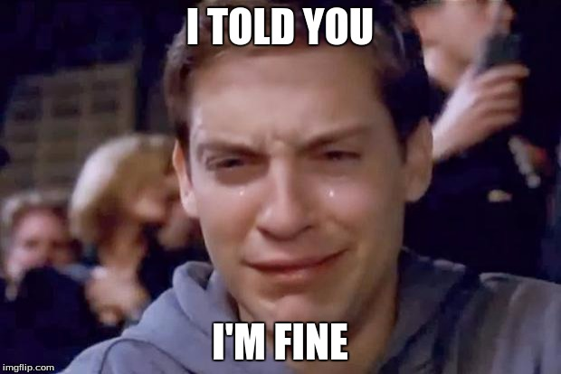 Tobey Maguire crying | I TOLD YOU I'M FINE | image tagged in tobey maguire crying | made w/ Imgflip meme maker