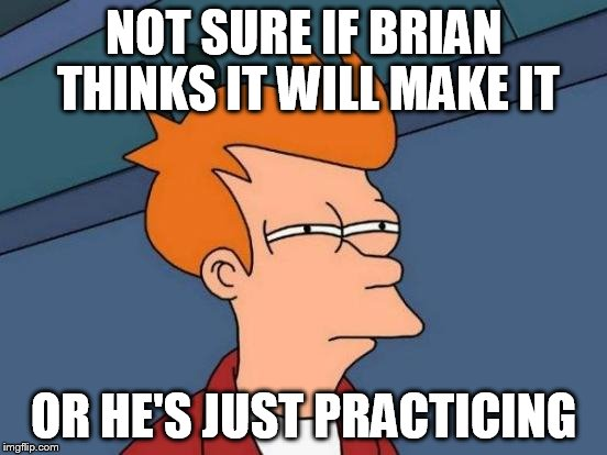 Futurama Fry Meme | NOT SURE IF BRIAN THINKS IT WILL MAKE IT OR HE'S JUST PRACTICING | image tagged in memes,futurama fry | made w/ Imgflip meme maker