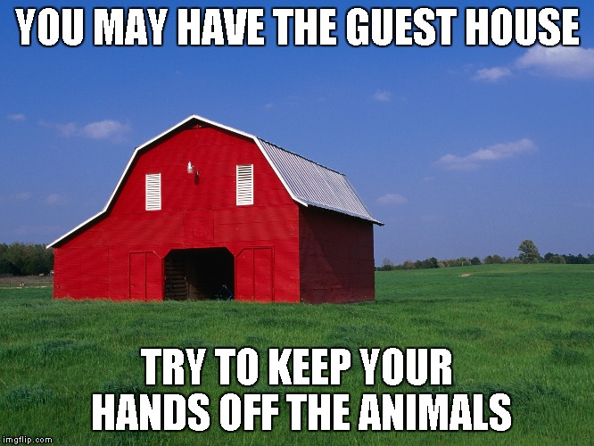 YOU MAY HAVE THE GUEST HOUSE TRY TO KEEP YOUR HANDS OFF THE ANIMALS | made w/ Imgflip meme maker