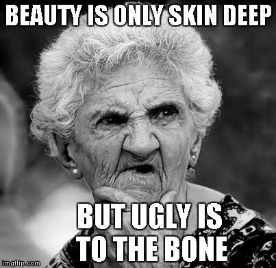 Something we all know too well I'm sure...LOL | BEAUTY IS ONLY SKIN DEEP BUT UGLY IS TO THE BONE | image tagged in skeptical old lady,beauty,memes,funny,ugly | made w/ Imgflip meme maker
