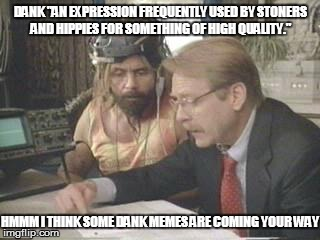 "DANK ""AN EXPRESSION FREQUENTLY USED BY STONERS AND HIPPIES FOR SOMETHING OF HIGH QUALITY."" HMMM I THINK SOME DANK MEMES ARE COMING YOUR WAY 