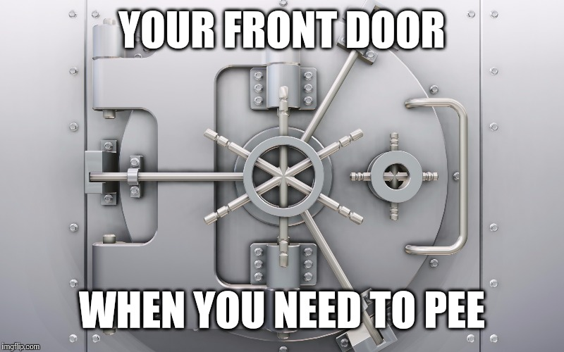 When you get home, your front door... | YOUR FRONT DOOR WHEN YOU NEED TO PEE | image tagged in toilet,safe,banks,bathroom,pee | made w/ Imgflip meme maker