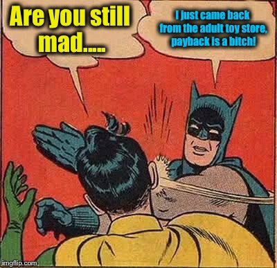 Batman Slapping Robin Meme | Are you still mad..... I just came back from the adult toy store, payback is a b**ch! | image tagged in memes,batman slapping robin | made w/ Imgflip meme maker