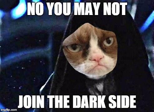 Bad day | NO YOU MAY NOT JOIN THE DARK SIDE | image tagged in memes,grumpy cat,emperor palpatine,star wars | made w/ Imgflip meme maker