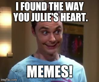 Sheldon Cooper smile | I FOUND THE WAY YOU JULIE'S HEART. MEMES! | image tagged in sheldon cooper smile | made w/ Imgflip meme maker