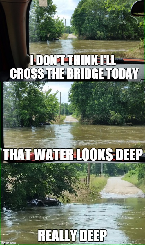 Monday morning in the midwest | I DON'T THINK I'LL CROSS THE BRIDGE TODAY REALLY DEEP THAT WATER LOOKS DEEP | image tagged in memes,funny,missouri,flood,river | made w/ Imgflip meme maker